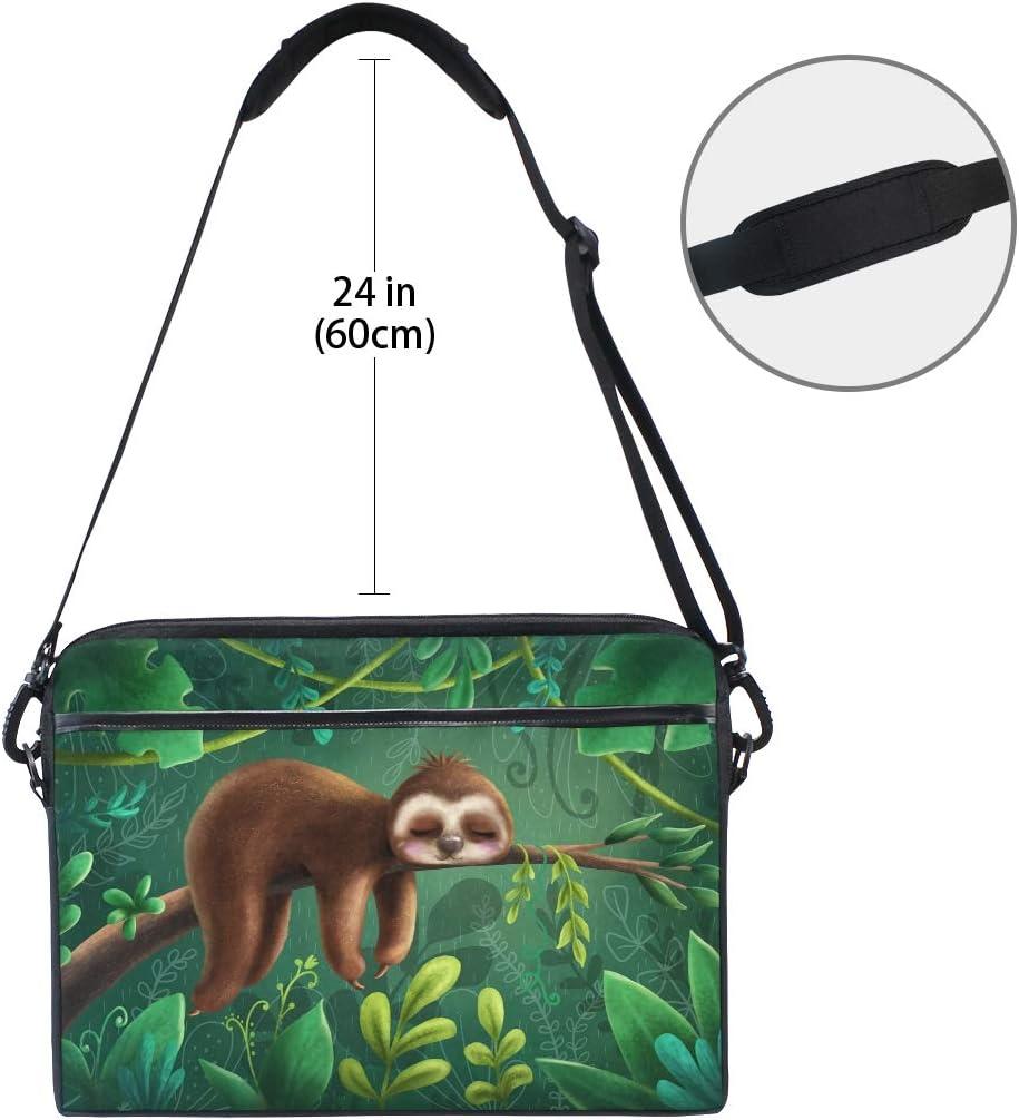 Funnyy Tropical Leaves Cute Sloth Print Laptop Shoulder Messenger Bag Case Sleeve for 13 13.3 14 14.5 inch with Adjustable Handle Strap for Boys Girls Men Women