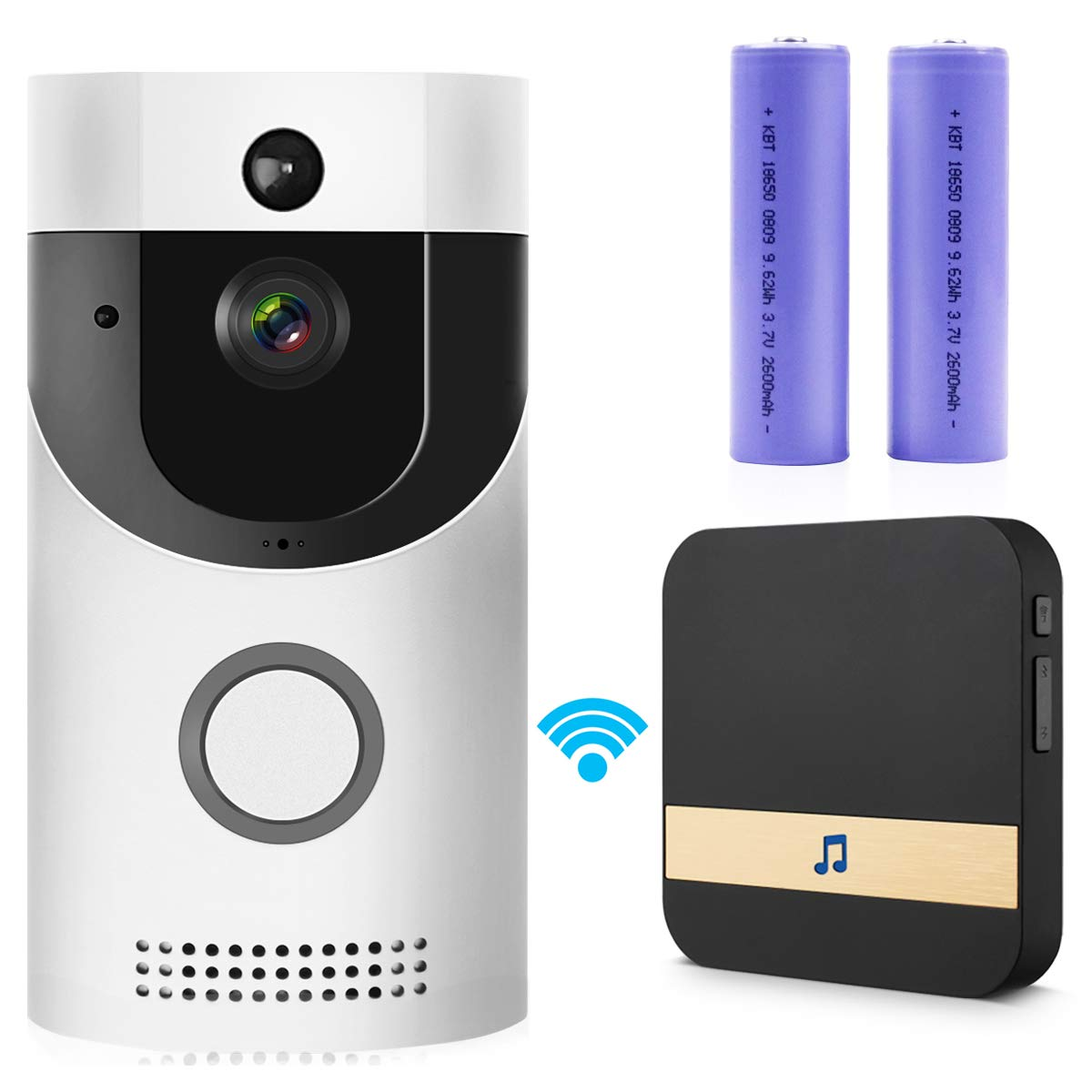 WIFI Video Doorbell, Smart Doorbell HD Security Camera with Chime, Real-Time Two-Way Talk and Video, Night Vision, PIR Motion Detection, ultra-slim design and App Control for IOS and An (Silver)