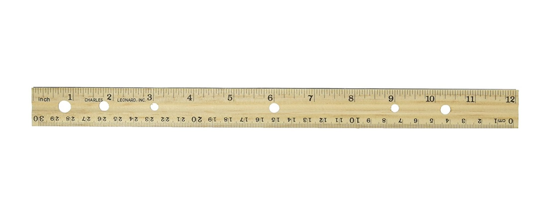 Charles Leonard Double Bevel, Metal Edged Wood Ruler, 12 Inches, Natural, 36-Pack (77120)