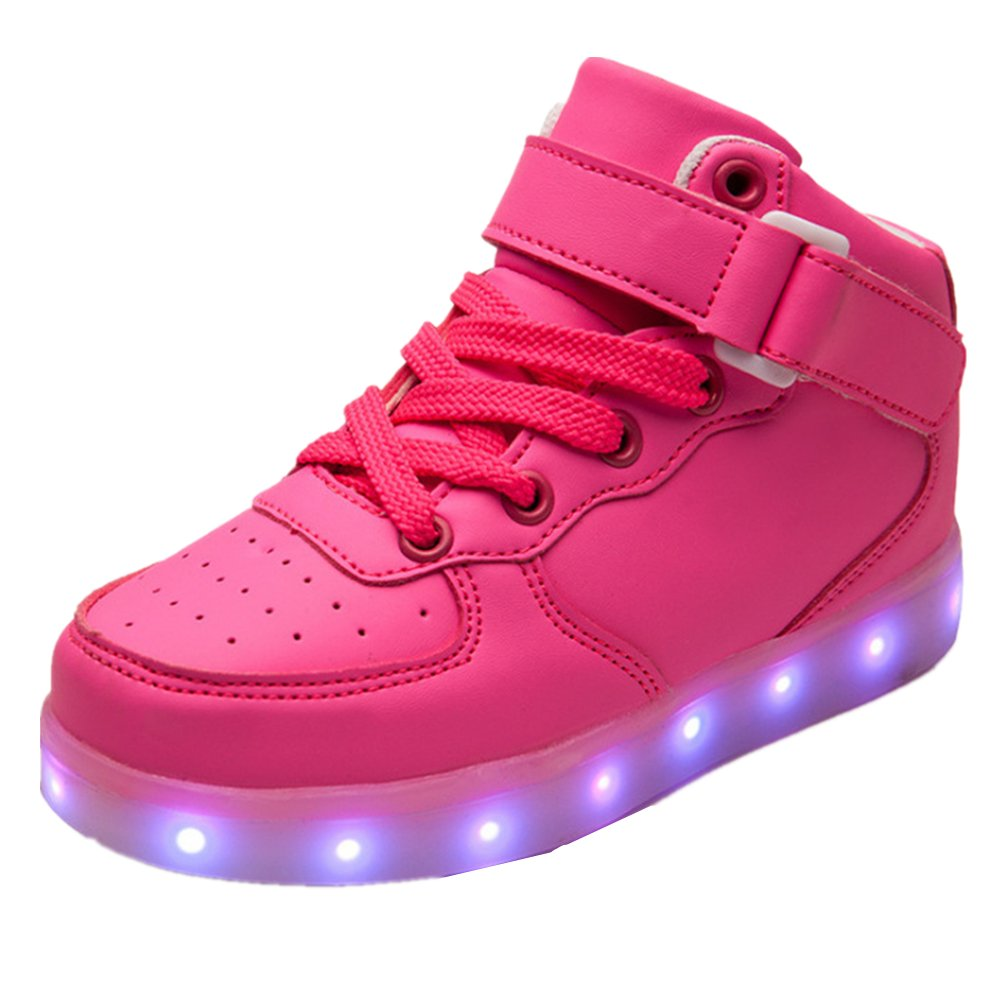 24XOmx55S99 Kid's LED USB Charging Light Up High Tops Boys Running Shoes Girls Luminous Sneakers (Pink 31/13?