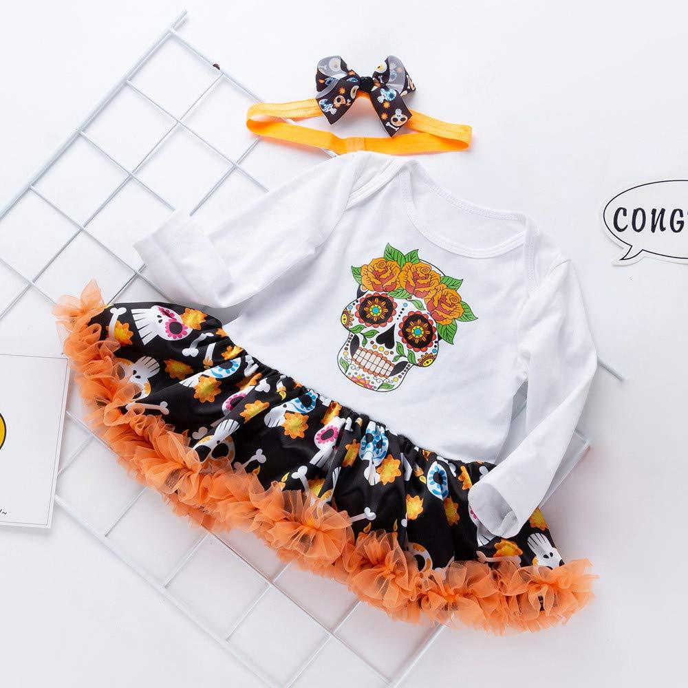 Bowknot Diadema Conjunto de Ropa para Beb/és ❤️ Tefamore Vestidos Bebe Ni/ña Halloween Cr/áneo Impresi/ón Reci/én Beb/é Ni/ñas Tut/ú Princesa Vestido