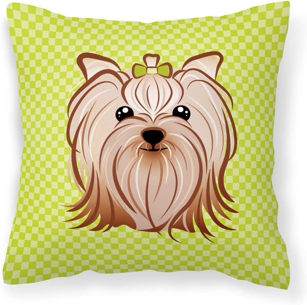 Caroline S Treasures Bb1266pw1818 Checkerboard Lime Green Yorkie Yorkishire Terrier Canvas Fabric Decorative Pillow 18h X18w Multicolor Garden Outdoor