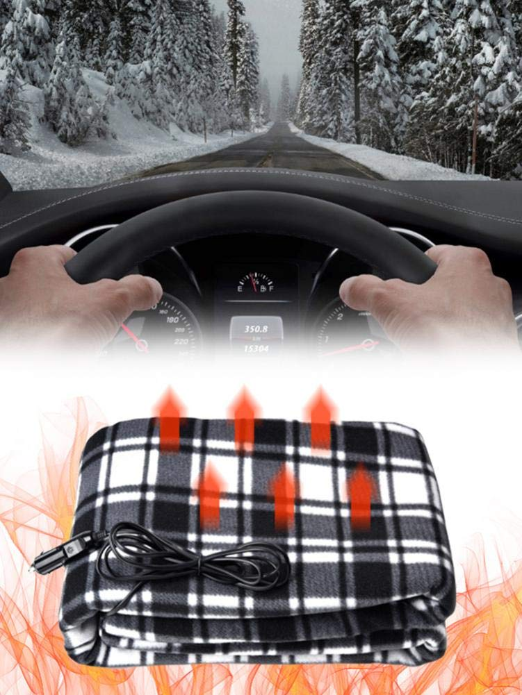 Pleasay Electric Blanket Heated Throw Car Heated Travel Blanket 12V Heating Pad Lattice Energy Saving Heating Blanket Winter Car Constant Temperature Heating Blanket for Cold Weather 150100CM by Pleasay
