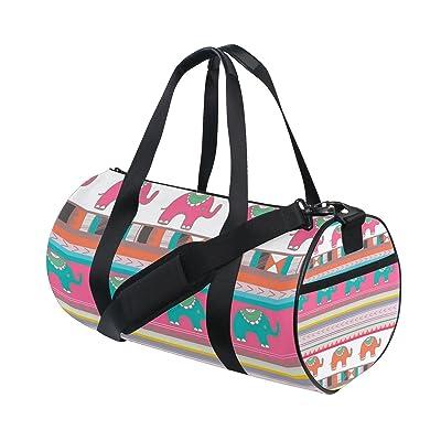 Gym Bag Cute Elephant Colorful Sports Travel Duffel Lightweight Canvas Bags