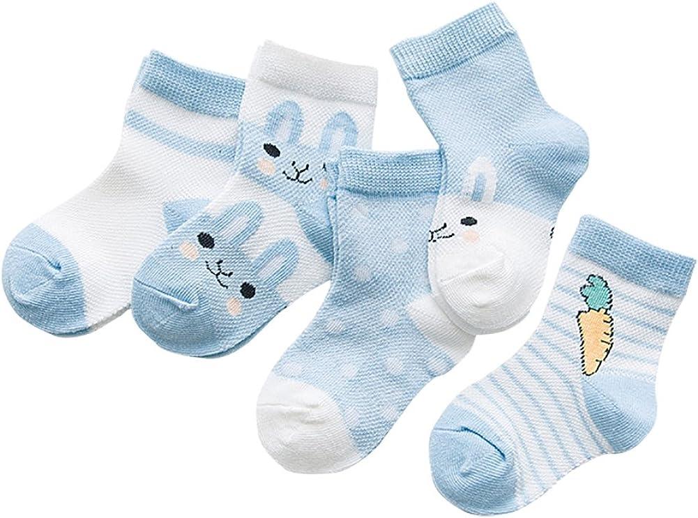 SYEEGCS Calzini Bambini Ragazze Ragazzo Neonati Calze Cotone 5 Paia Traspirante Confortevole Modello Ravanello Coniglio 0-48 Mesi 1-4 Anni