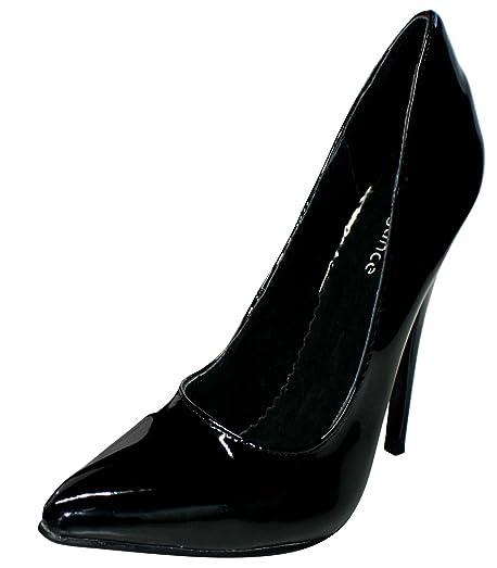 2da3b27a5d7cee Erogance Women s Lack High Heels Pumps Hi-Top Slippers Black Size .