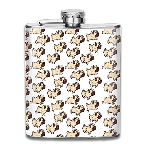 (WUGOU Stainless Steel Hip Flask 7 Oz (No Funnel) Running Dog Wallpaper Full Printed)