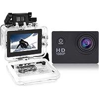 Cámara de video de acción YUNTAB, Full-HD, 1080P, pantalla LCD de 2.0 pulgadas, lente de video y imagen de 120 grados de ancho, resistente al agua hasta 30 m, accesorios múltiples (negro)