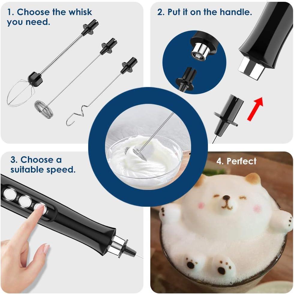 Simpeak Montalatte Elettrico caff/è Portatile 3 in 1 Miscelatore Latte Elettrico USB Ricaricabile con Base per Latte Uova