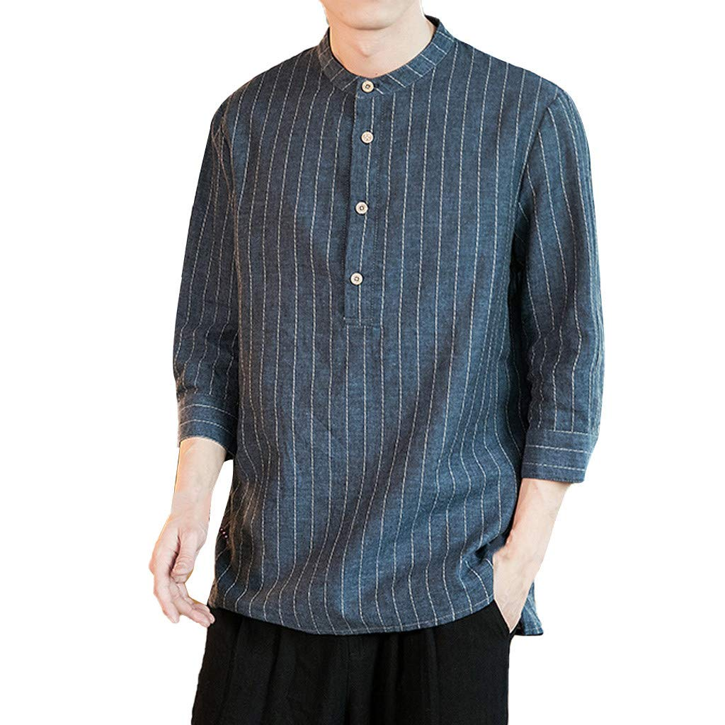 Men's Summer Casual Cotton Linen Stripe Three Quarter Sleeve T Shirts Top Blouse Navy