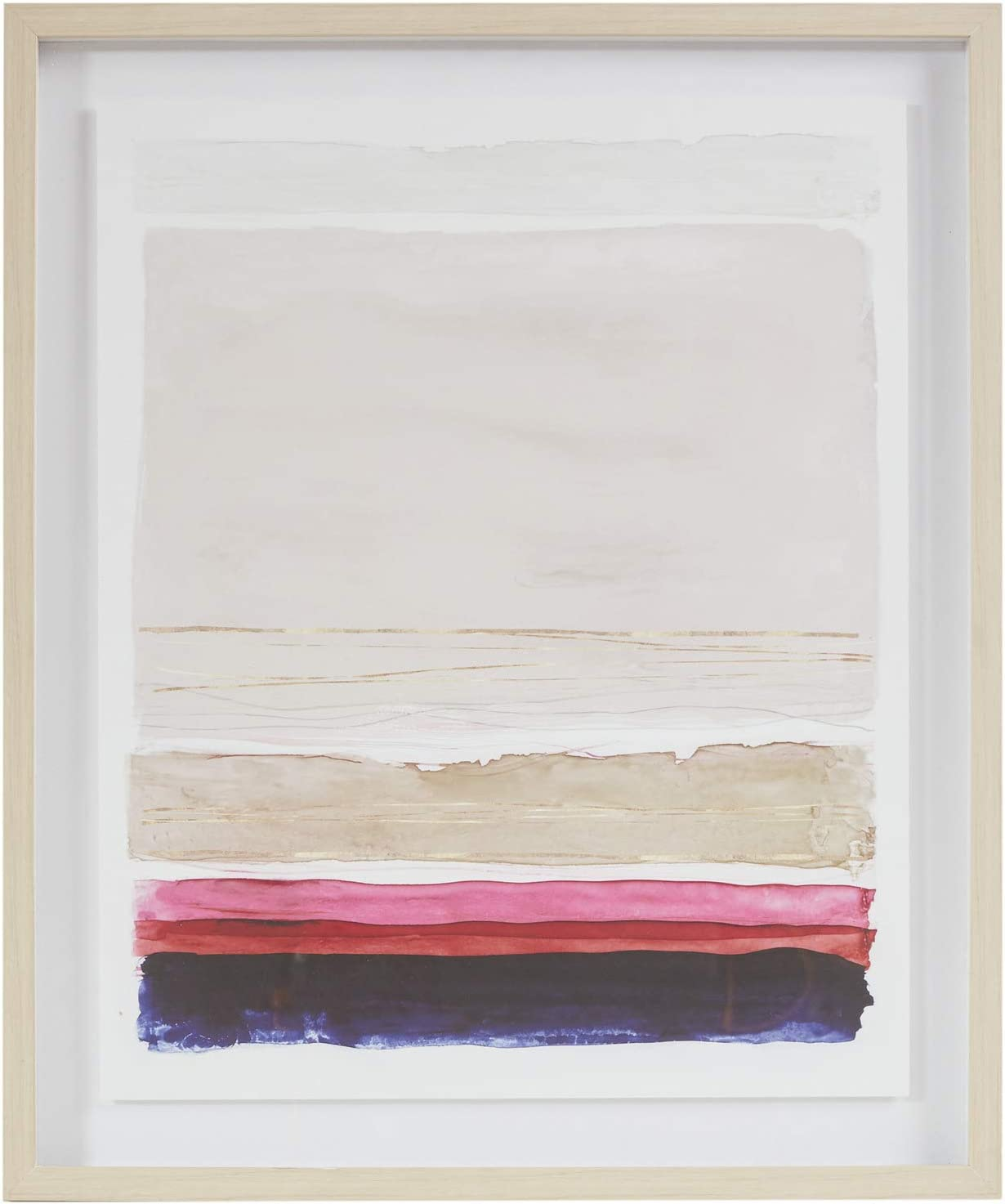 "MARTHA STEWART Rothko's Stripes II Wall Art Living Room Glass Framed Canvas Home Accent Abstract Watercolor Bathroom Decoration, Ready to Hang Poster Painting for Bedroom, 21.1"" X 25.1"", Multi"