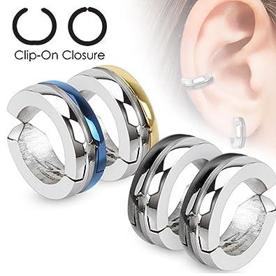 Body Jewelry Pair Steel Inlay Black Ip Non Piercing Earring Hoops Clip On Cuff Ear Jewelry