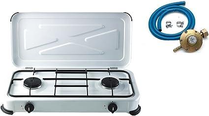 Cocina 2 Fuegos Gas bomola + 1 regulador + Tubo 2 mt + 2 ...