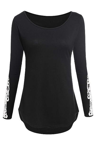 ... Redondo Camisetas Primavera Otoño Casuales Mujeres Fashion Slim Fit Vintage Ocasional Basicas Shirts Tops Blusas Negro: Amazon.es: Ropa y accesorios