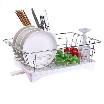 feleph escurreplatos con bandeja de goteo de acero inoxidable Durable  fregadero escurridor bandeja estante para platos 48609708b996