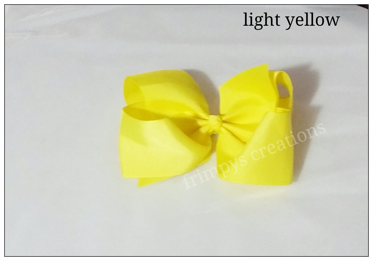 6inch grosgrain ribbon Light Yellow school hair bow clips aligator clips baby toddler big girls lady barrette clips hair grip assorted colors