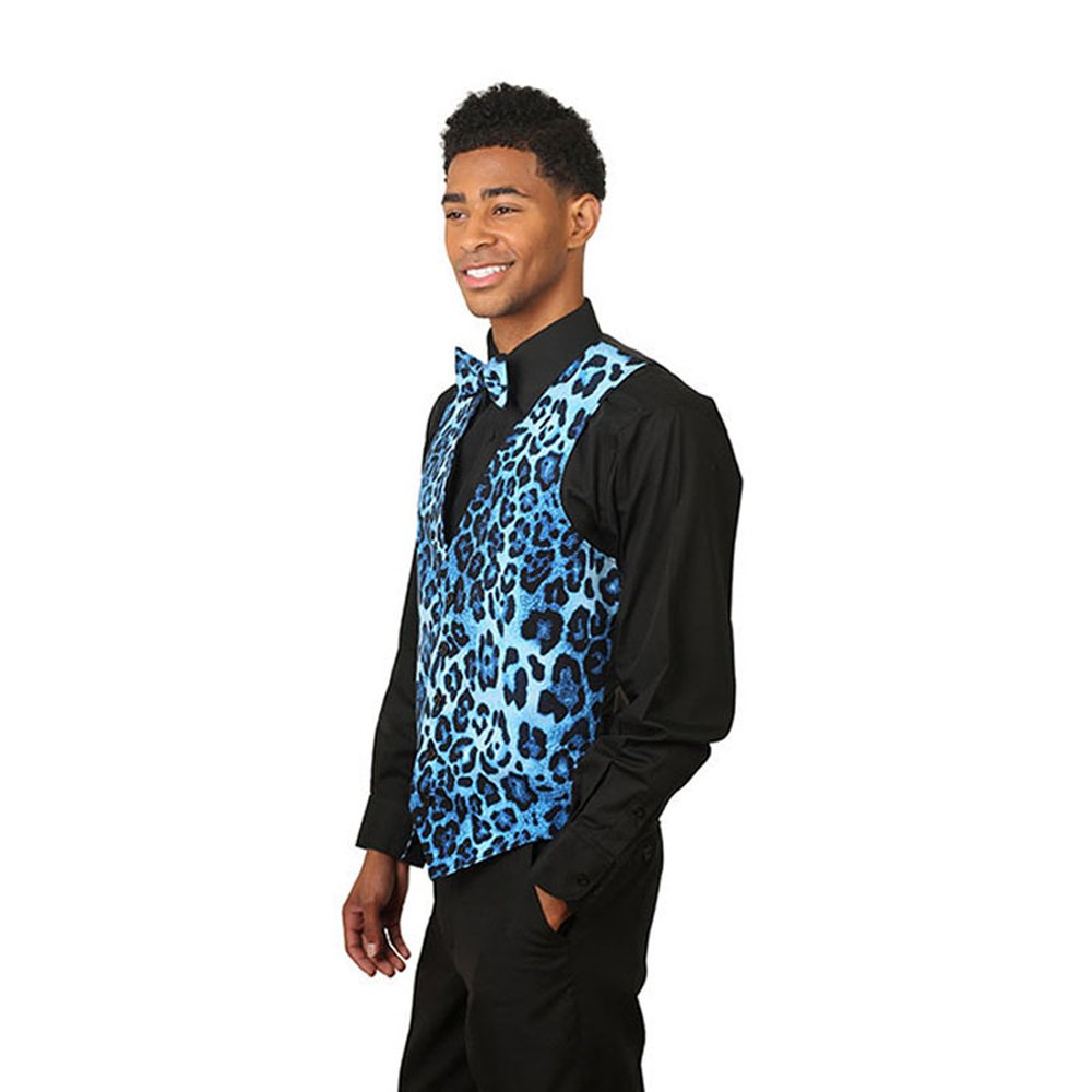 Mens Blue Leopard Print Vest and Bow Tie Set at Amazon Mens Clothing store: Business Suit Vests