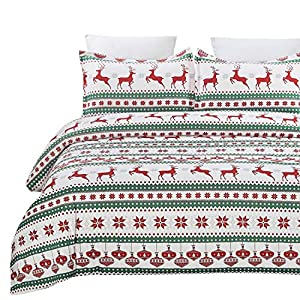 Vaulia Lightweight Microfiber Duvet Cover Set, Printed Reindeer Pattern for Christmas New Year Holidays, Red/Green - Queen