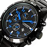 ALPS Men's Sport Style Stainless Steel Chronograph Wristwatch with Link Bracelet