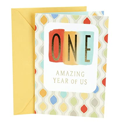 Amazon hallmark 1st anniversary greeting card for spouse one hallmark 1st anniversary greeting card for spouse one year lettering m4hsunfo