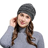 HULKAY Unisex Caps Premium Soft Stretch Pleated Warm Hooded Wool Knitted Hat(Black)