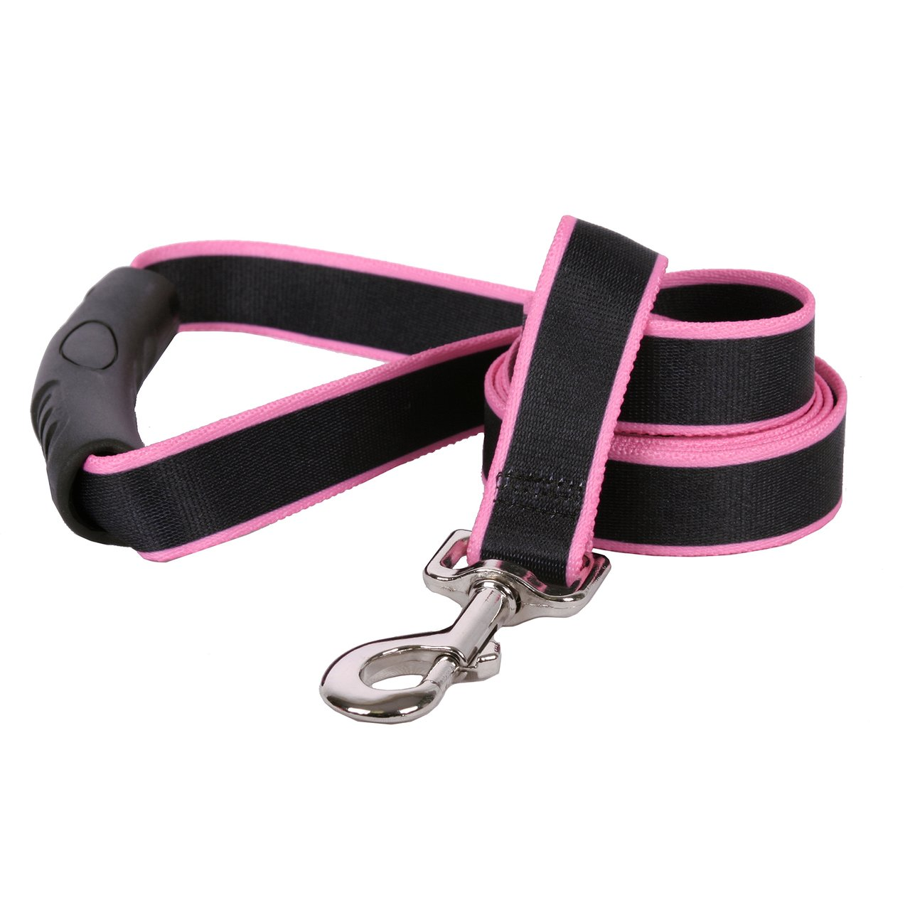 Yellow Dog Design Sterling Stripes Black Light Pink Dog Leash with Comfort Grip Handle-Large-1'' 5' x 60''