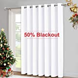 NICETOWN Sliding Door Curtains for Patio, Wide Width Drape, Vertical Curtains for Patio Door (White, Width 100 inches…