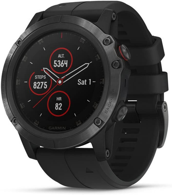 Garmin fēnix 5 Plus, Premium Multisport GPS Smartwatch, Features Color Topo Maps, Heart Rate Monitoring, Music and Pay, Black with Black Band