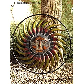 e6a6a60b16724 Amazon.com  Large Round Metal Sun Wall Decor Garden Art  Home   Kitchen