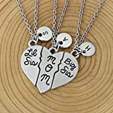 3 Piece Personalized Initial Necklace,Mother Big Sister/Little Sister Necklace Christmas Gifts,Sister Gift