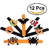 Tinksky Spider Pumpkin Slap Bracelet Halloween Snap Slip Wristband Band for Happy Halloween Wrist Decoration 12pcs party favors for kids