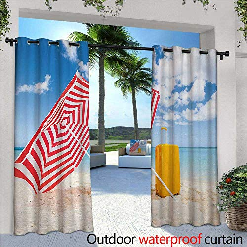 - BlountDecor Yellow and Blue Indoor/Outdoor Single Panel Print Window Curtain Windy Sandy Beach with Sunshade and Trolley Summer Holiday Relax Picture Silver Grommet Top Drape W120 x L108 Multicolor