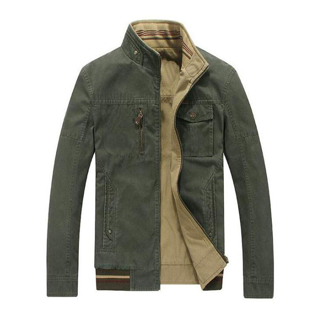 Casual Jacket Jacket Cotton Collar Stand Collar Double-Sided Men's Autumn and Winter Jacket Outdoor Travel Jacket Army Green (Color : Khaki, Size : S) JBHURF factory