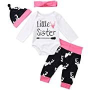 Baby Boys Girls Little Brother and Sister Letter Romper and Deer Legging Pants with Hat Headband (0-6 Months, Little Sister)
