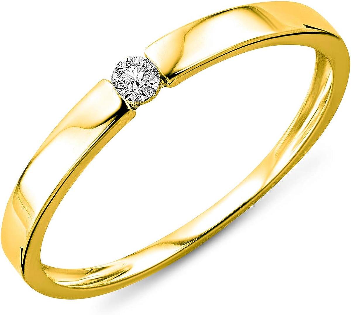 Miore anello di fidanzamento da donna in oro bianco 9k con diamante 0.05ct, taglio brillante MIN924R2