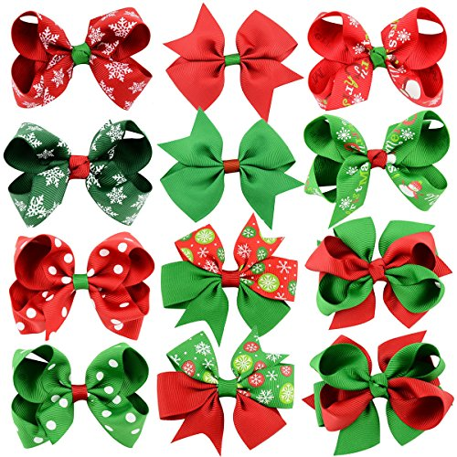 """YOY 12 Pcs Fashion Baby Girls Grosgrain Ribbon Boutique 3"""" Hair Bows with Alligator Clips - Halloween Christmas Headdress Costume Accessories for Toddlers Teens Kids"""