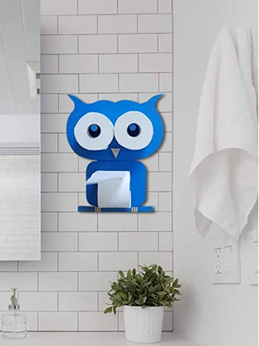 Lycka Imported Birch Wood Wall Mounted Owl Shape Tissue Roll