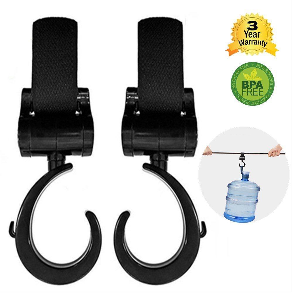 Insten 2 Pack Stroller Hook 360 Degree Adjustable Angles Ultra Durable Multi Purpose On Any Baby Stroller Clothing Baby Stroller Hooks Shopping Bags Purses Perfect Hanger for Diaper Bags