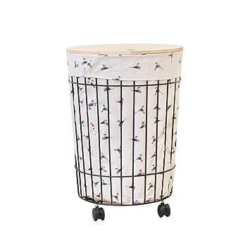 SZQ Cesta de ropa sucia de hierro del arte, vintage con cesta de almacenamiento de la ...