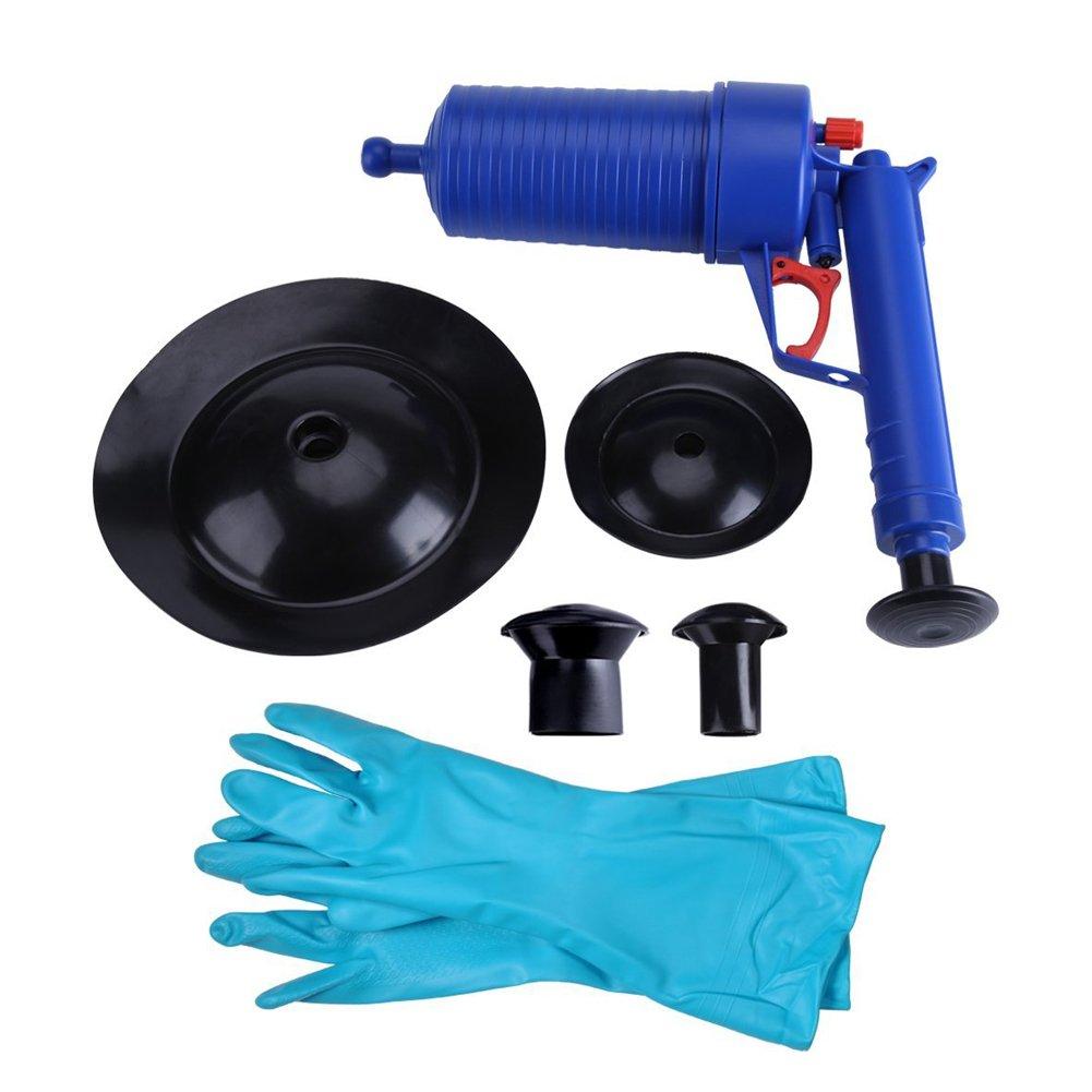 Yosoo–Sturalavandini professionale, pompa a vuoto, in plastica, pistola con ventosa, per WC e cucina Déboucheur Bleu avec Gants