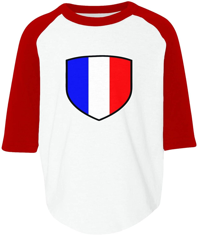 Amdesco France Shield French Flag Toddler Raglan Shirt