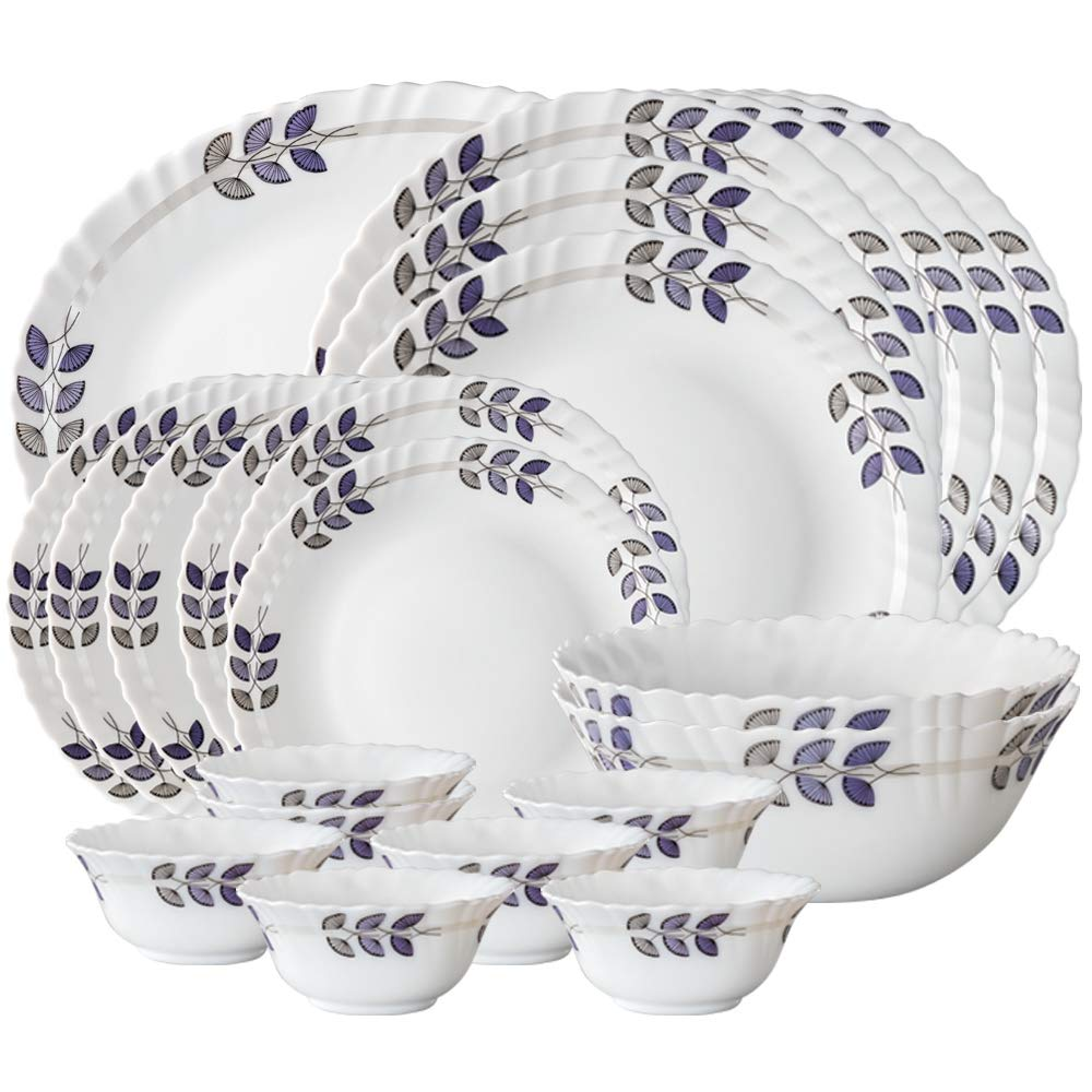Larah By Borosil Floret Opalware Dinner Set, 21-Pieces, White