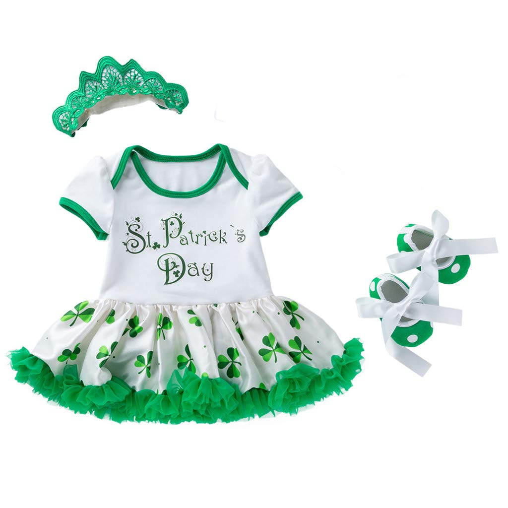 Juesi Baby Girls St Patricks Day Princess Dress with Lucky Clover Print