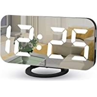 "Digital Alarm Clocks,7"" LED Mirror Electronic Clock,with 2 USB Charging Ports,Snooze Mode,Auto Adjust Brightness,Modern…"