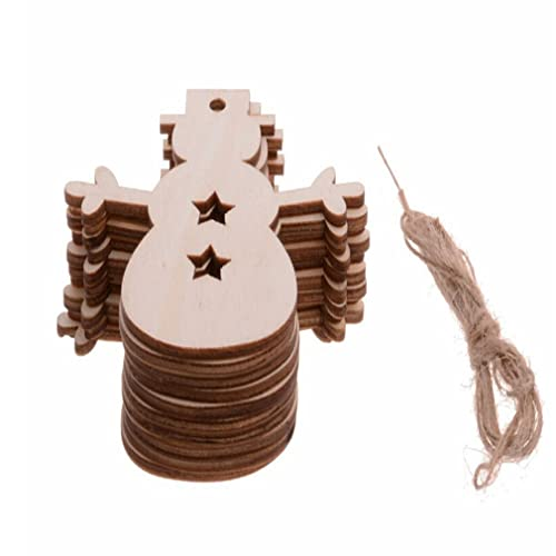ODN 10Pcs Christmas Wood Chip Tree Ornaments Hanging Pendant Decoration Gifts Snowman