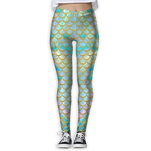 57fed02a18a939 Amazon.com: Watercolor Mermaid Scale Girls Yoga Stretch Footless High Waist  Leggings Pants: Clothing