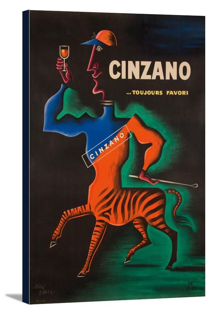 Cinzanoヴィンテージポスター(アーティスト: Carlu )フランスC。1950 24 x 36 Gallery Canvas LANT-3P-SC-62326-24x36 B0184AQQEQ  24 x 36 Gallery Canvas