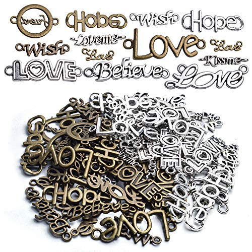 Inspirational Words Charm Pendants 100g Word Letter Bracelet Necklace Charm Connector Pendant (Hope Love Wish Believe KISS ME) Antique Silver Bronze for Crafts and Jewelry Making - Approx.70 Pieces