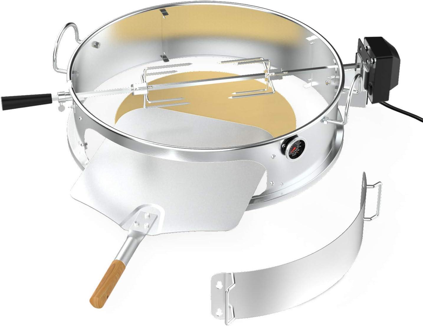 Onlyfire Kit de anillo de pizza de acero inoxidable con asador, kit de barbacoa multifuncional, para asar pollo y cocinar pizza, se adapta a la mayoría de las parrillas de caldera de carbón de 57 cm
