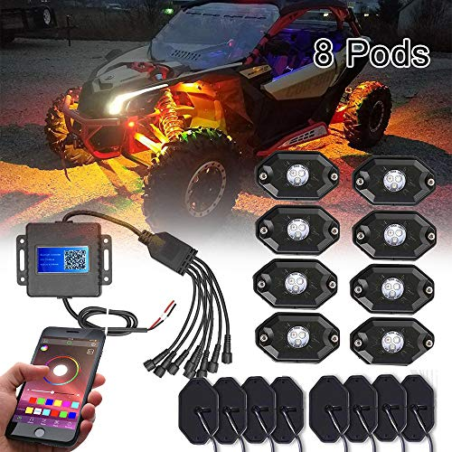 (BEATTO 8 Pods RGB LED Rock Light Kits with White Light App Control Timing & Music Mode & Flashing & Automatic Control & Color Grad Multicolor Neon Lights Under Jeep Off Road Truck SUV ATV Motorcycle)